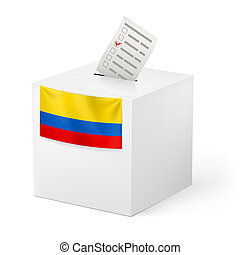 Ballot box with voting paper. Colombia - Election in...