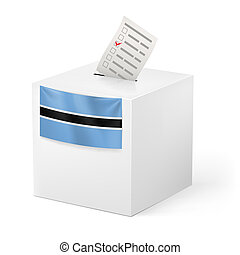Ballot box with voting paper. Botswana - Election in...