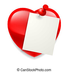 Love message - Blank paper sheet pinned on red shiny heart