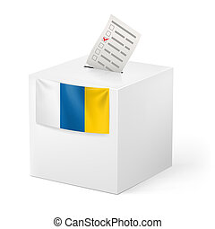 Ballot box with voting paper. Canary Islands - Election on...