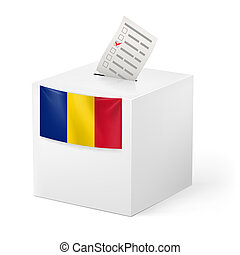 Ballot box with voting paper. Chad - Election in Chad:...