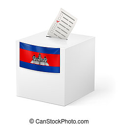 Ballot box with voting paper. Cambodia - Election in...