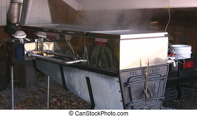 Maple Sap Boiling - Maple Sap Being Boiled Down In An...
