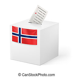 Ballot box with voicing paper. Norway - Election in Norway:...