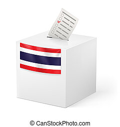 Ballot box with voicing paper. Thailand - Election in...