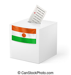 Ballot box with voting paper. Niger - Election in Niger:...