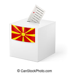 Ballot box with voicing paper. Macedonia - Election in...
