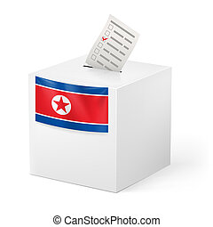 Ballot box with voting paper. North Korea - Election in...
