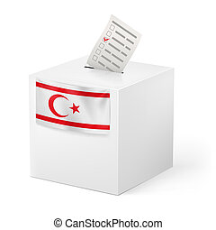 Ballot box with voting paper Northern Cyprus - Election in...
