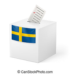 Ballot box with voicing paper. Sweden - Election in Sweden:...