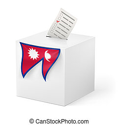 Ballot box with voicing paper. Nepal - Election in Nepal:...