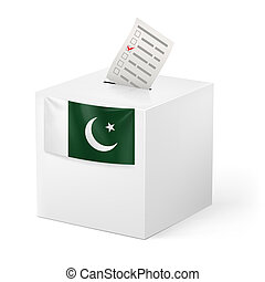 Ballot box with voting paper. Pakistan - Election in...