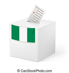 Ballot box with voting paper. Nigeria - Election in Nigeria:...