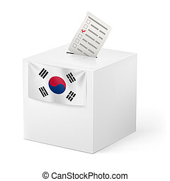 Ballot box with voicing paper. South Korea - Election in...