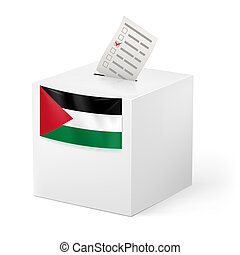 Ballot box with voting paper. Palestine - Election in...