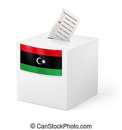 Ballot box with voting paper. Libya - Election in Libya:...