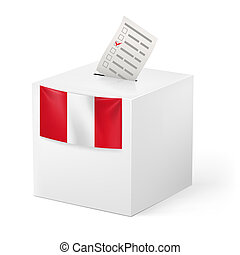 Ballot box with voting paper. Peru - Election in Peru:...