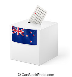 Ballot box with voting paper. New Zealand - Election in New...