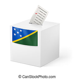 Ballot box with voting paper. Solomon Islands - Election in...