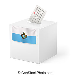 Ballot box with voting paper. San Marino - Election in San...