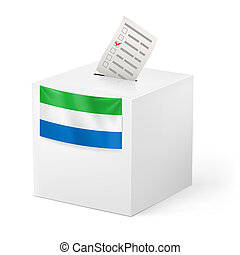 Ballot box with voting paper. Sierra Leone - Election in...