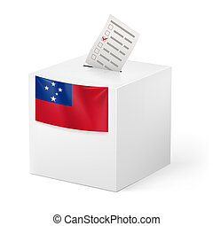 Ballot box with voting paper. Samoa - Election in Samoa:...