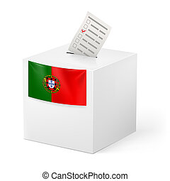 Ballot box with voting paper. Portugal - Election in...