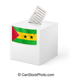 Ballot box with voting paper. Sao Tome and Principe -...