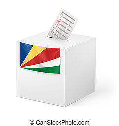 Ballot box with voting paper. Seychelles - Election in...