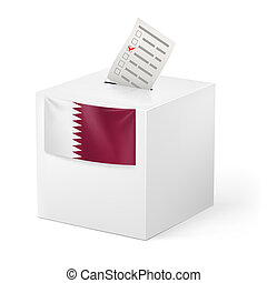 Ballot box with voting paper. Qatar - Election in Qatar:...