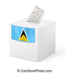 Ballot box with voting paper. Saint Lucia - Election in...