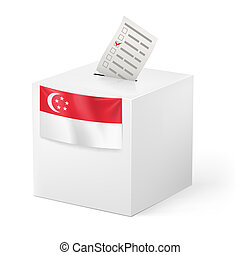 Ballot box with voting paper. Singapore - Election in...