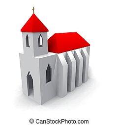 church - a 3d rendering of a little church