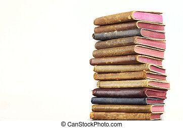 Leather Books Stacked - Leather books stacked with copy...