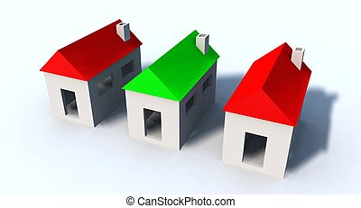 little houses - a 3d rendering of some little houses