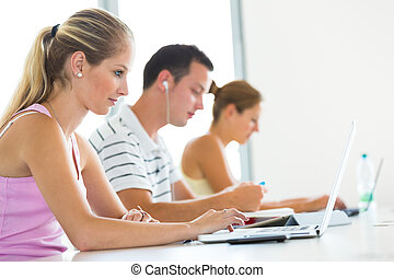 In the library - group of college/university students,...