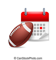 Rugby ball and calendar
