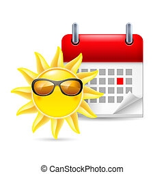 Sun and calendar - Icon of sun in sunglasses and calendar...