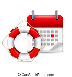 Flotation ring and calendar - Icon of life saver ring and...