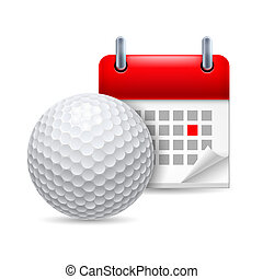 Golf ball and calendar - Icon of golf ball and calendar with...