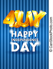 4 July - Vector background with gold letters on the fourth...