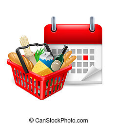 Food basket and calendar