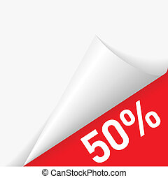 Paper corner discount - 50 percent discount under folded...