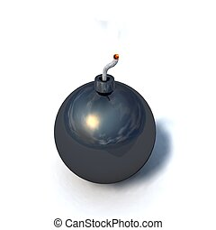 bomb - a black bomb on a white background