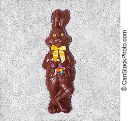Details of a Big Chocolate Bunny in the box