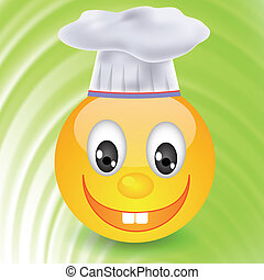 smile in chefs hat - colorful illustration with smile in...