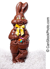 Tall Chocolate Bunny Isolate on White Background