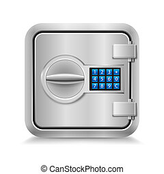 Closed safe - Icon of metal safe with electronic lock on...
