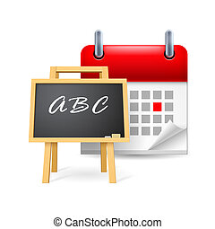 School time icon: blackboard and calendar with marked day