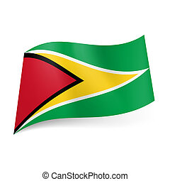 State flag of Guyana - National flag of Guyana: black framed...
